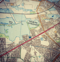an OS map of North Hykeham